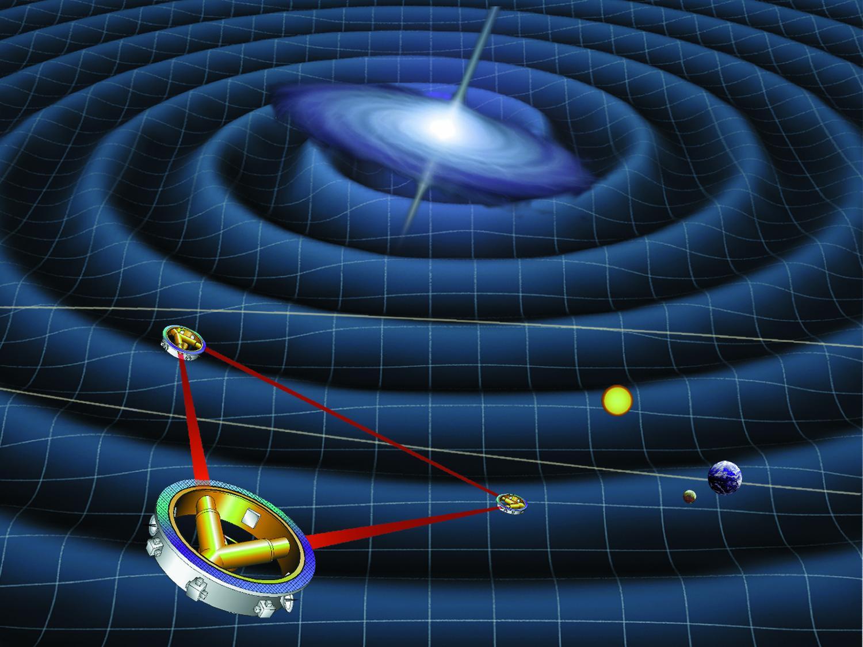 Artistes le dessin d'une mission spatiale proposée pour détecter et mesurer les ondes gravitationnelles. (Crédit: NASA via Wikimedia Commons).