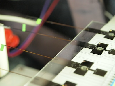 These microfluidic devices use electrical currents to move around droplets containing chemical solutions. Canadian researchers have used the technology to create a miniaturized drug testing lab that could be used by police or in athletics. (Photo credit: Brandon Seale)