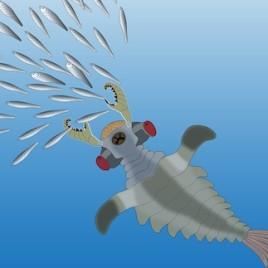 Vue d'artiste du Lyararapax pourchassant des poissons primitifs. Ce prédateur vivait pendant le Cambrien inférieur il y a plus de 510 millions d'années. (Image : Nicholas Strausfeld, Université d'Arizona)