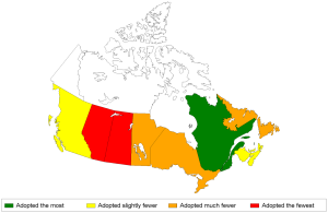 British Columbia, Quebec, Prince-Edward-Island and Nova-Scotia were the greenest according to a new index on pro-environmental behaviours outdoor. (Crédit: Canuel et al.)
