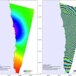 Une image radar d'un satellite montre la déformation du sol et le mouvement causé par le tremblement de terre de magnitude 8,2 survenu au Chili le 1er avril dernier. (Crédit: Sergey Samsonov, Ressouces naturelles Canada)