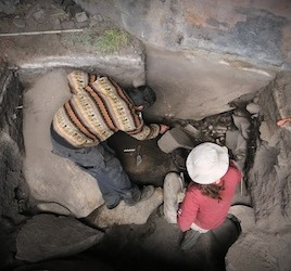 Researchers Kurt Rademaker and Sonia Zarrillo in an excavation at Cuncaicha, in Peru. New evidence suggests that humans colonized the extreme environment over 12,000 years ago, a mere 2000 years after they first arrived in South America. (Photo credit: Kurt Rademaker)