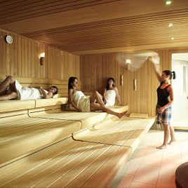 A sauna is an enclosed room used for a steam bath. (Image courtesy of