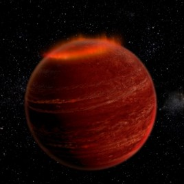 An artist's impression of the aurorae on the brown dwarf LSR J1835. (Image credit: Chuck Carter and Gregg Hallinan/Caltech)