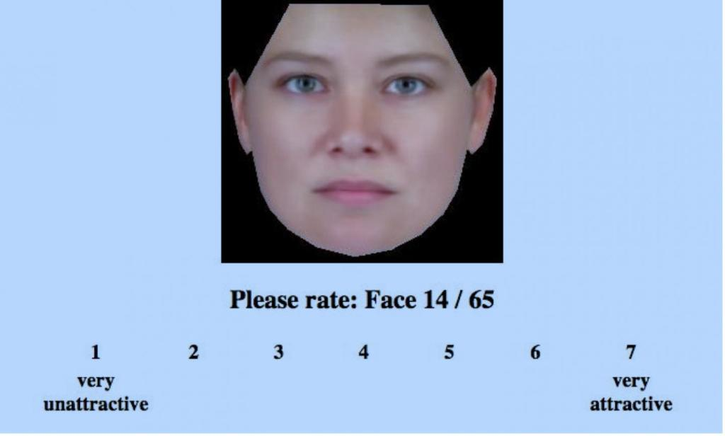 "A screenshot from the ""Rate That Face"" online experiment found at http://www.testmybrain.org/setup.php?b=309. (Image Credit: Germine et el.)"