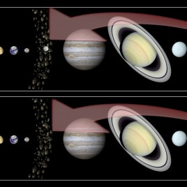 An artist's impression of the two theories on how Ceres formed. In the first image, Ceres formed in the main belt and ammonia was incorporated from the external zones of the Solar System. In the second, Ceres itself was formed in the external zones of the Solar System, including ammonia in its formation process, and then migrated to the main belt. (Image credit: L.Giacomini)