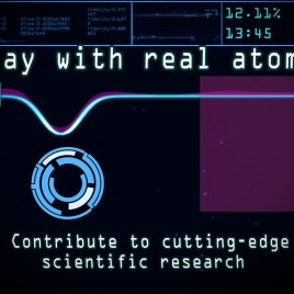 The in-game view of Quantum Moves with an optical tweezer (the vertical blue line), and a single trapped atom denoted by the purple liquid above the blue line. The blue circle indicates where the players should touch the screen.  A movie showing the Quantum Moves game studied by the researchers is available to watch. (Image credit: ScienceAtHome)