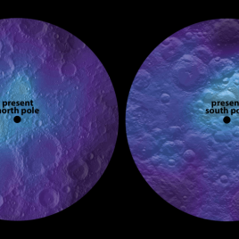 Maps of lunar polar hydrogen (a proxy for water ice). The hydrogen abundance maxima (white dots) are offset significantly from the present north and south pole, and are inferred to be ancient lunar spin poles. (Image Credit: James Tuttle Keane)