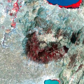 Satellite image of Aluto volcano which is located in Ethiopia's Rift Valley.(Photo by William Hutchison and NASA)