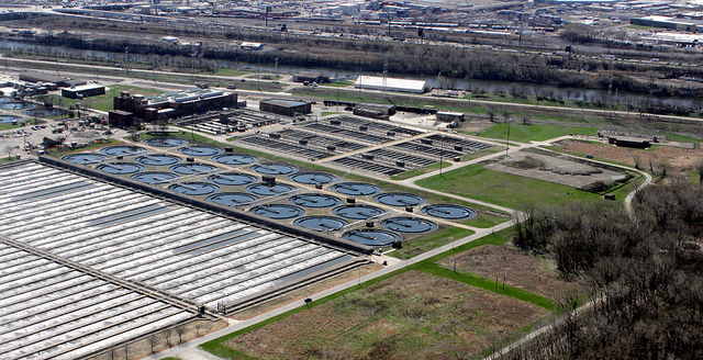 Aerial view of Stickney Wastewater Treatment Plant in Illinois. This is the largest wastewater treatment plant in the world. (U.S. Army Photo by Dave Wethington/Released)