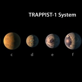 This artist's conception shows what the TRAPPIST-1 planetary system may look like, based on available data about their diameters, masses and distances from the host star. (NASA/JPL-Caltech)