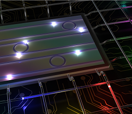 High-dimensional color-entangled photon states from a photonic chip, manipulated and transmitted via telecommunications systems.  (Image by Michael Kues)
